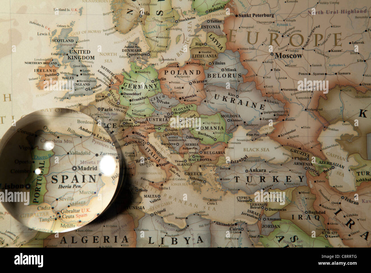Close up of european continent world map with crystal ball stock close up of european continent world map with crystal ball gumiabroncs Image collections