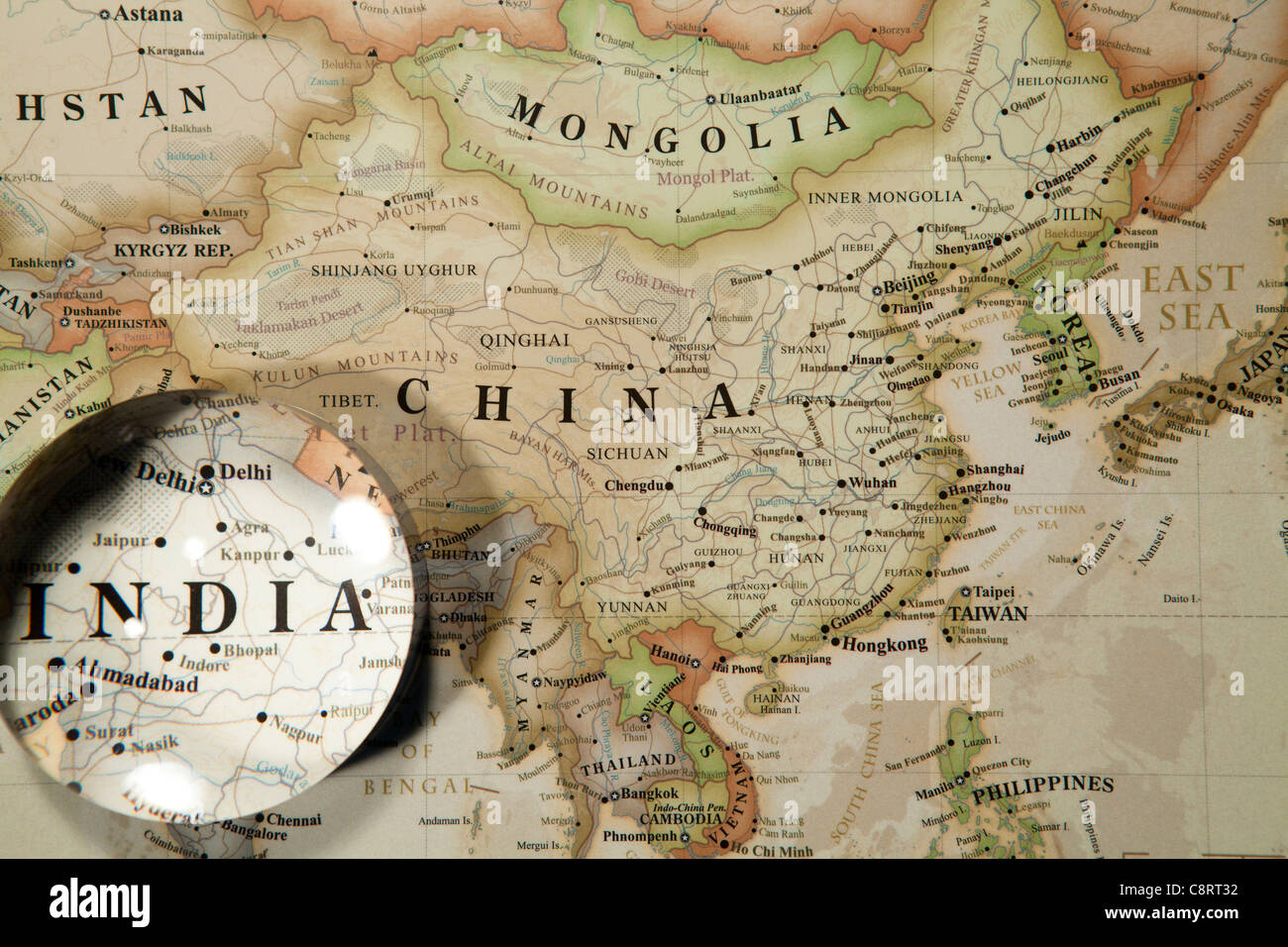 Close Up Of Asian Continent World Map With Crystal Ball Stock Photo