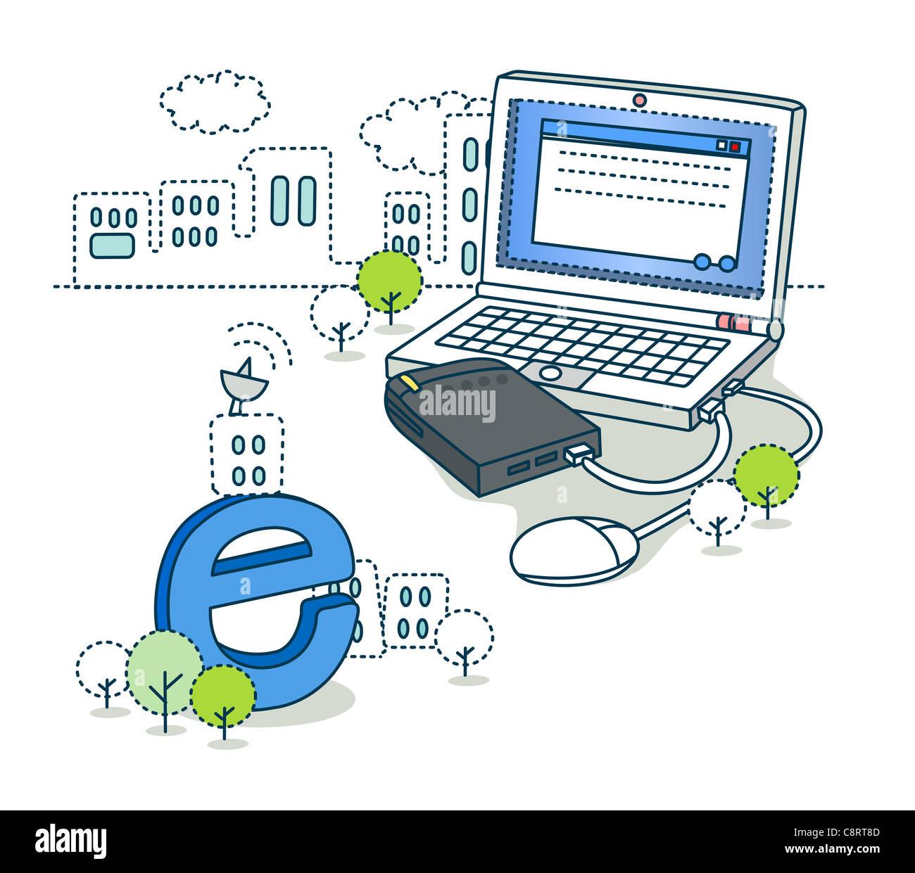 Modem Laptop Stock Photos & Modem Laptop Stock Images - Alamy