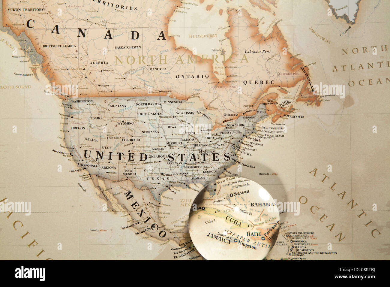 North american continent stock photos north american continent close up of north american continent world map with crystal ball stock image freerunsca Image collections