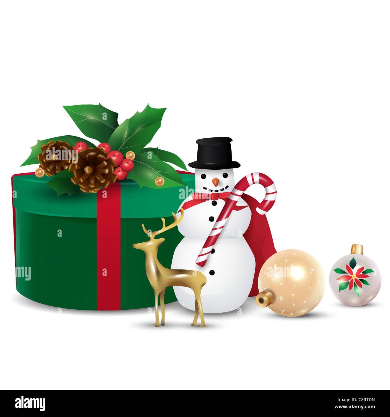 Christmas Gifts And Christmas Ornaments - Stock Image