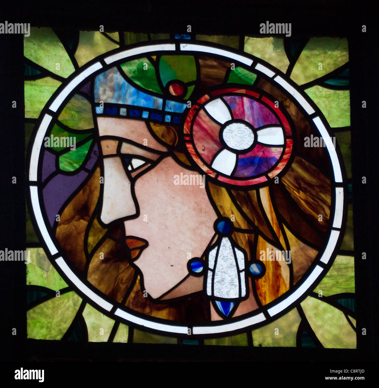 Detail of Art Nouveau stained glass panel on Municipal House or Obecni Dum in Prague in Czech Republic Stock Photo