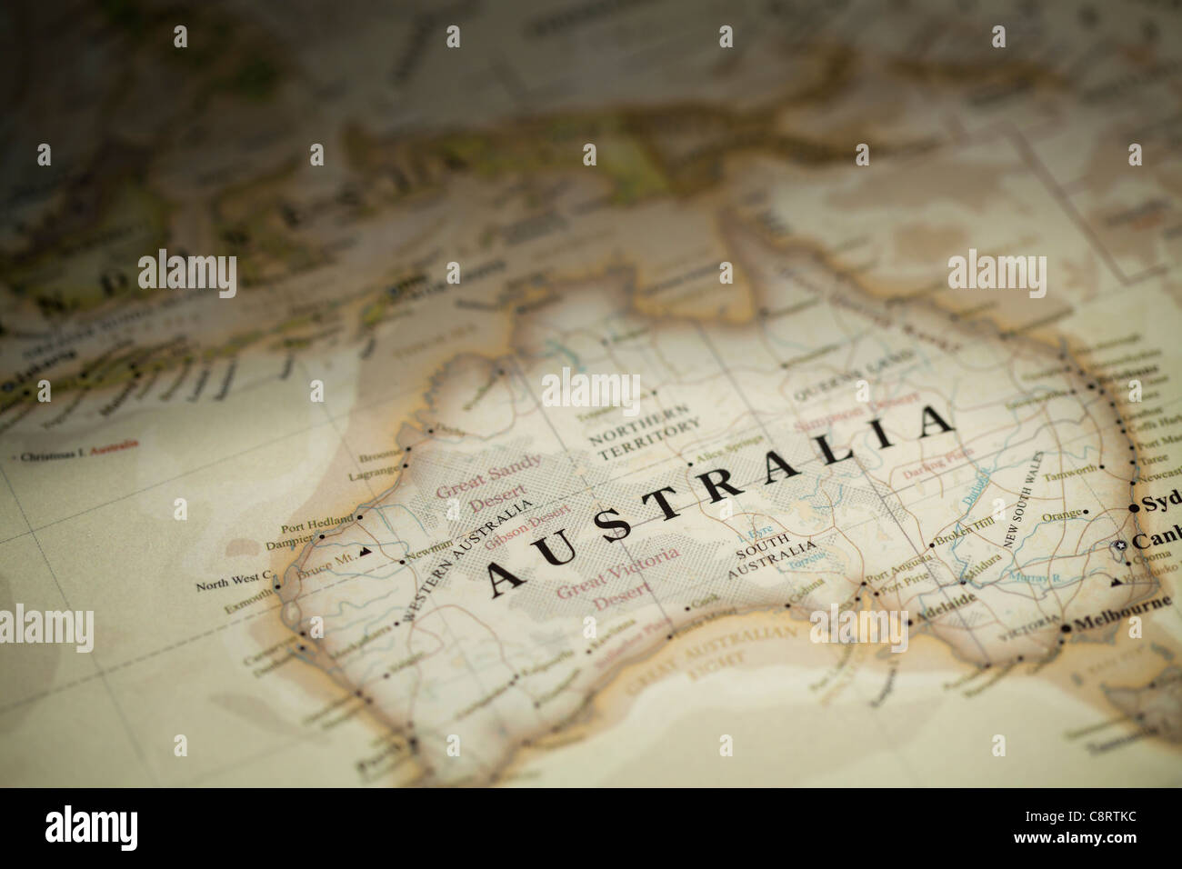 Close-up of Australian continent world map - Stock Image