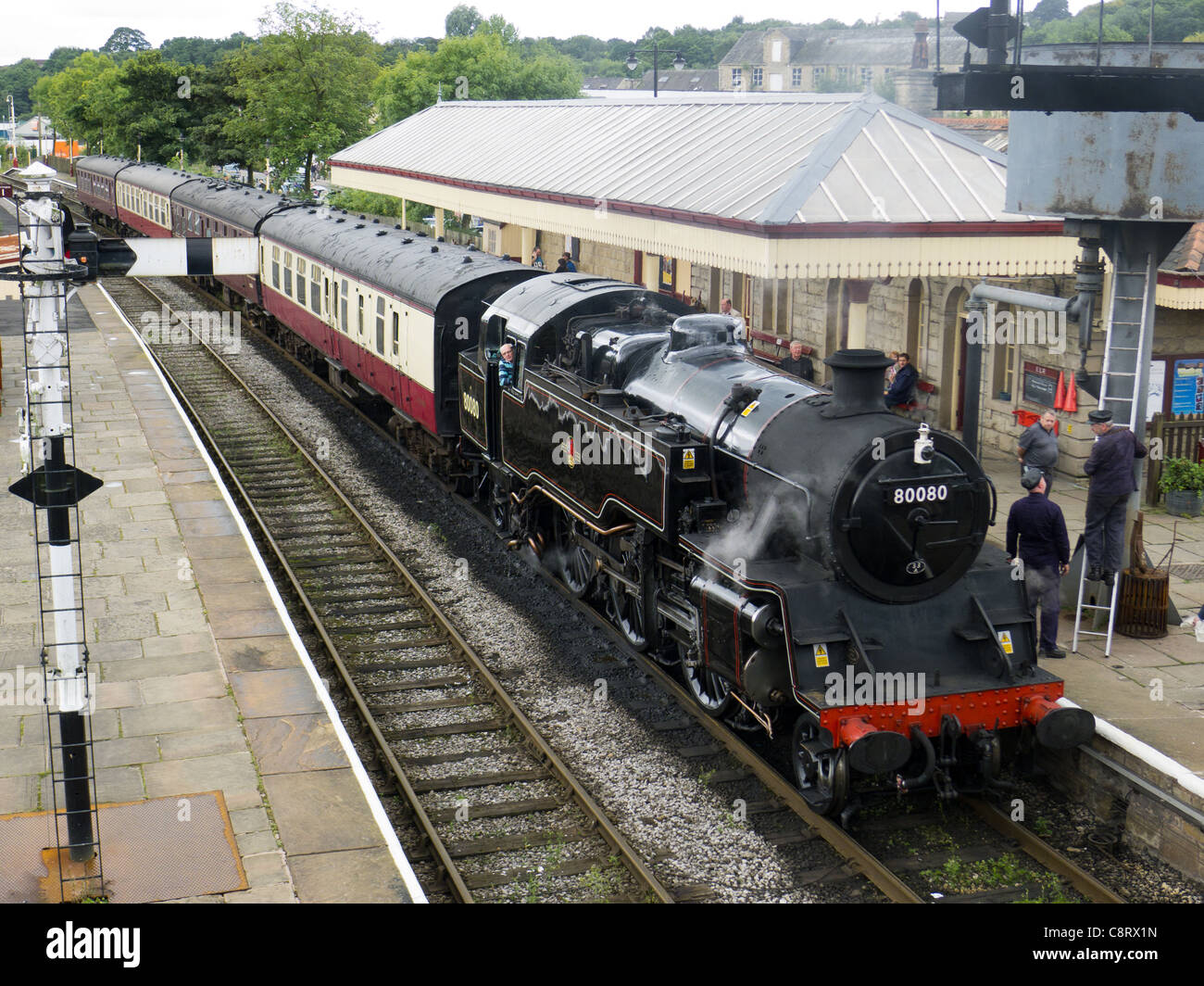 Steam train on East Lancashire Railway at Ramsbottom Station Stock Photo