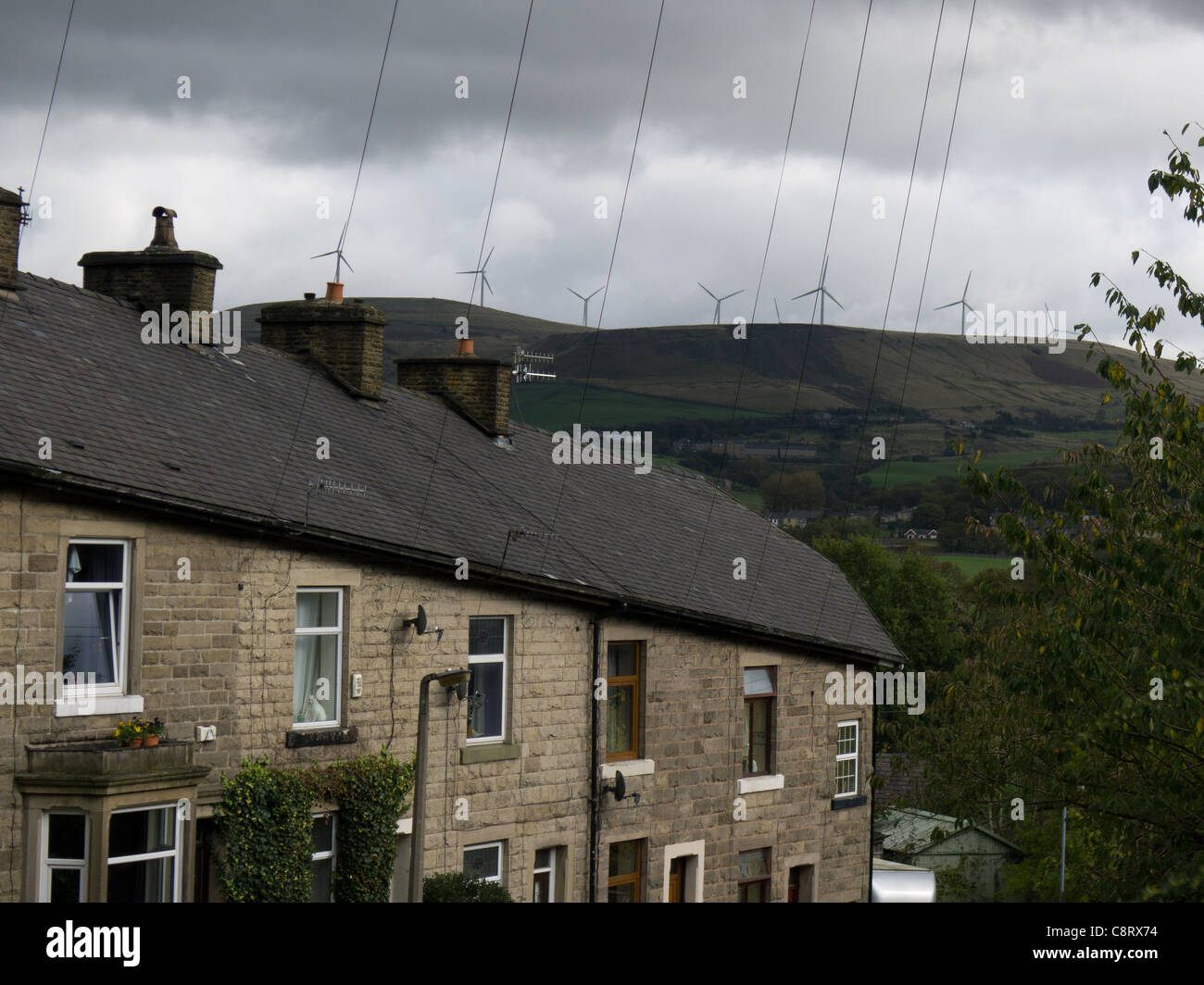 Scout Moor wind farm from Rawson's Rake, Ramsbottom, Lancashire - Stock Image