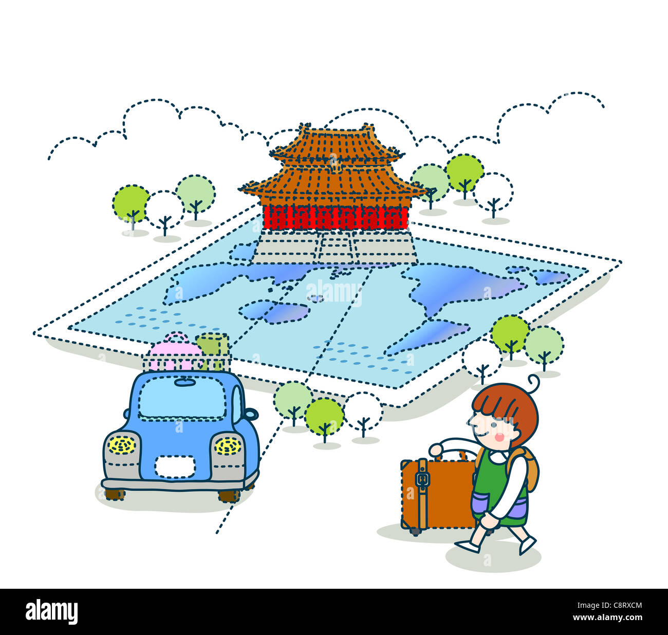 Illustration of a girl going for a vacation in car to a famous place - Stock Image