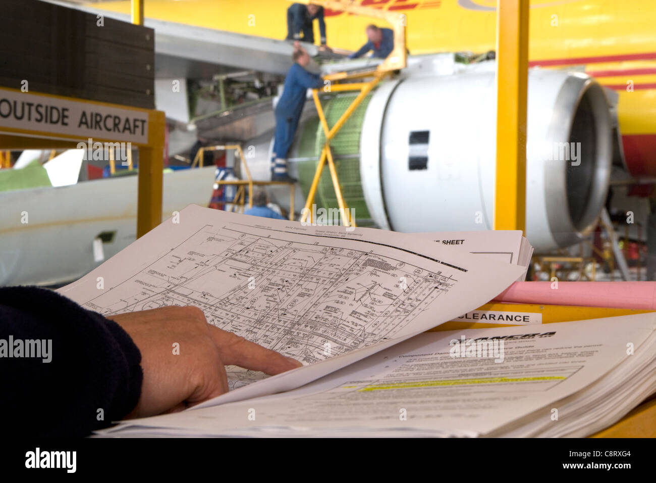 boeing 757 maintenance schedule - stock image