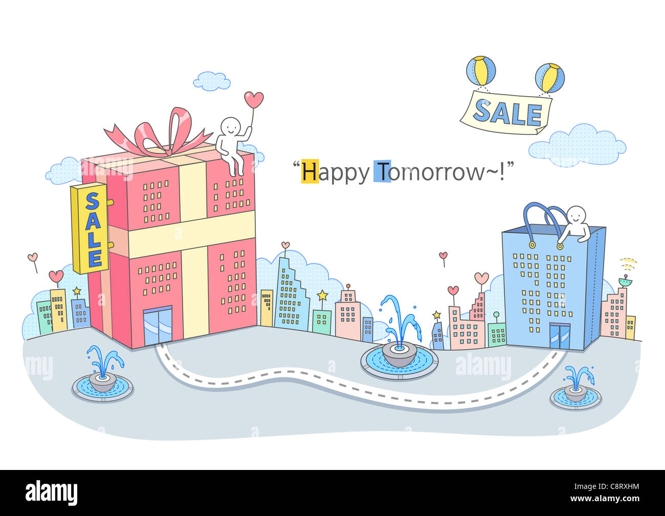 Illustration of shopping concept - Stock Image