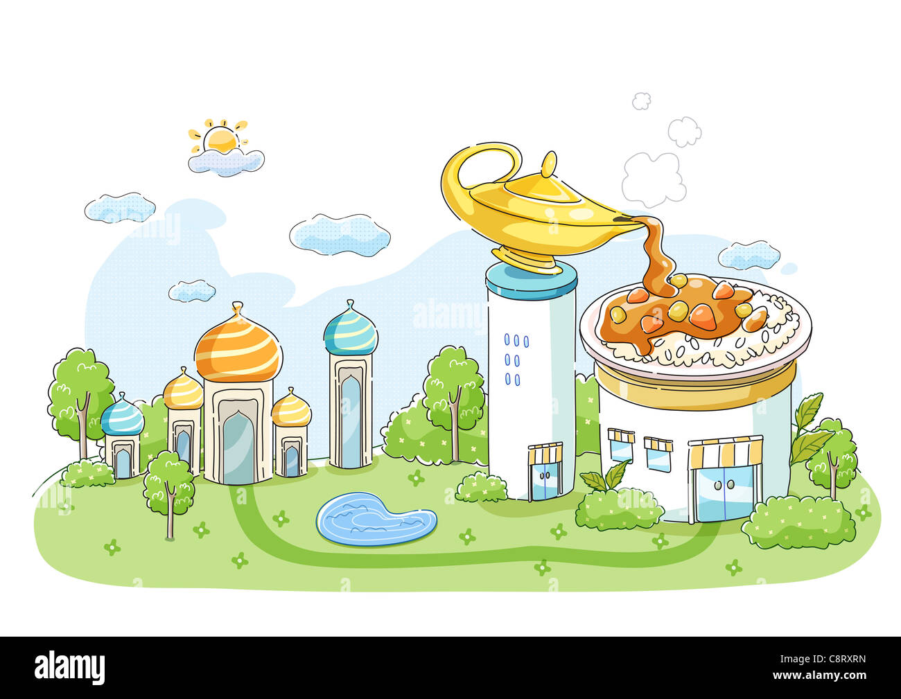 Magic lamp with castles around - Stock Image