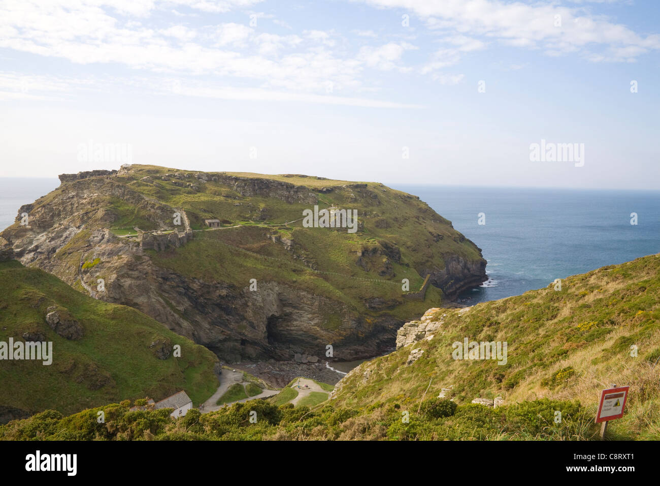 Tintagel Cornwall September Looking down on the ruins of the medieval fortifications of castle on headland of Tintagel - Stock Image