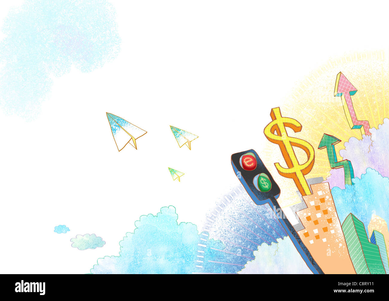 Illustration of dollar sign and traffic signal - Stock Image