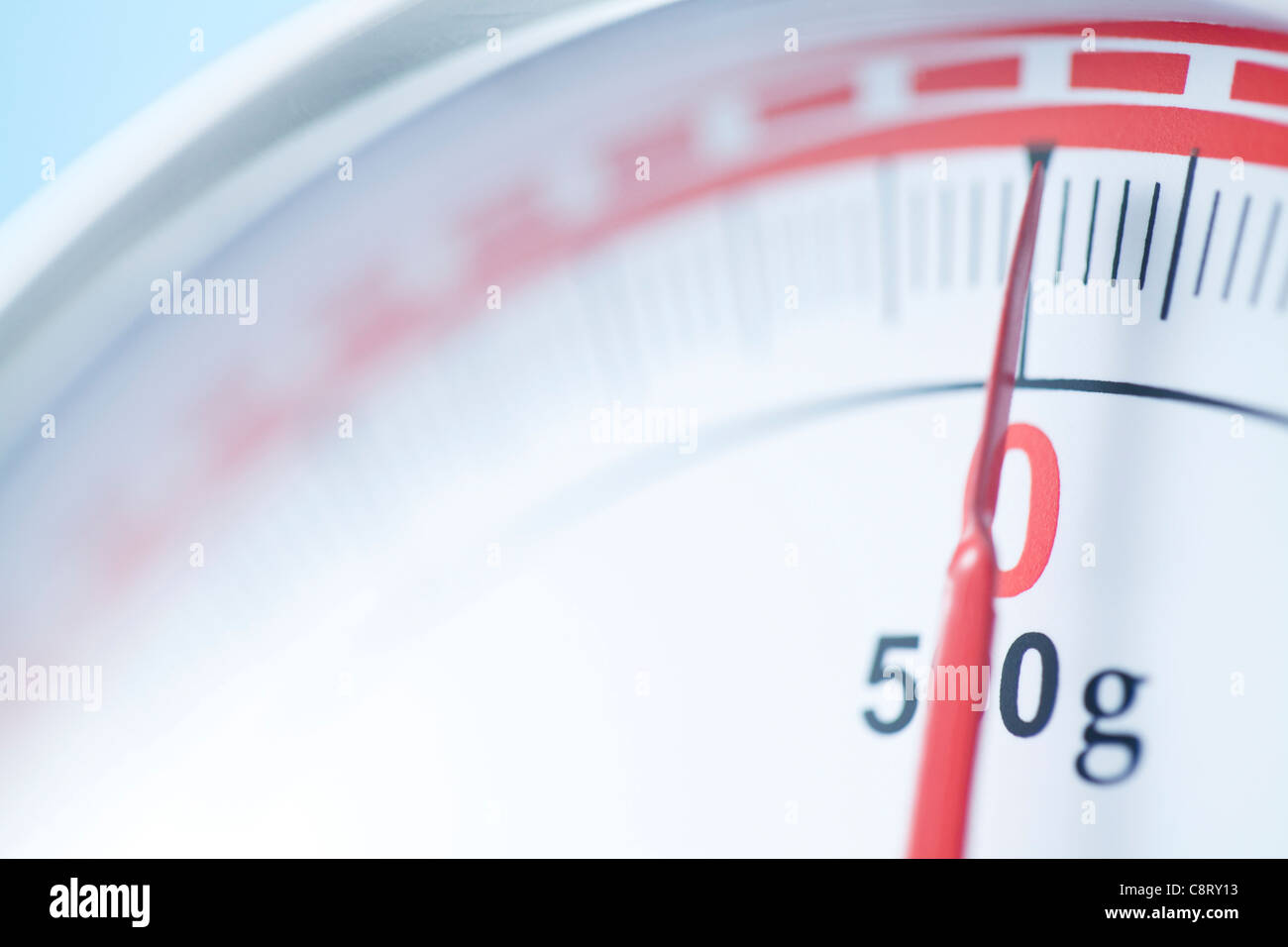 Extreme close-up of weighing scale - Stock Image
