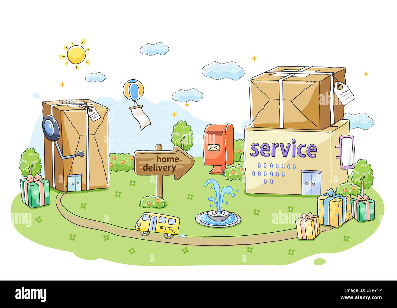 Concept of conveying and delivering messages - Stock Image