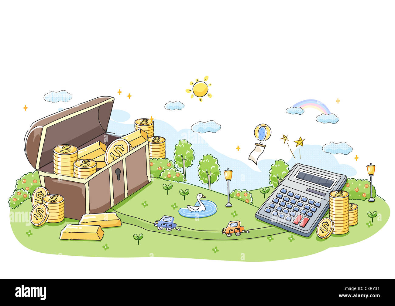 Illustration of gold coins and gold bar with calculator in background - Stock Image