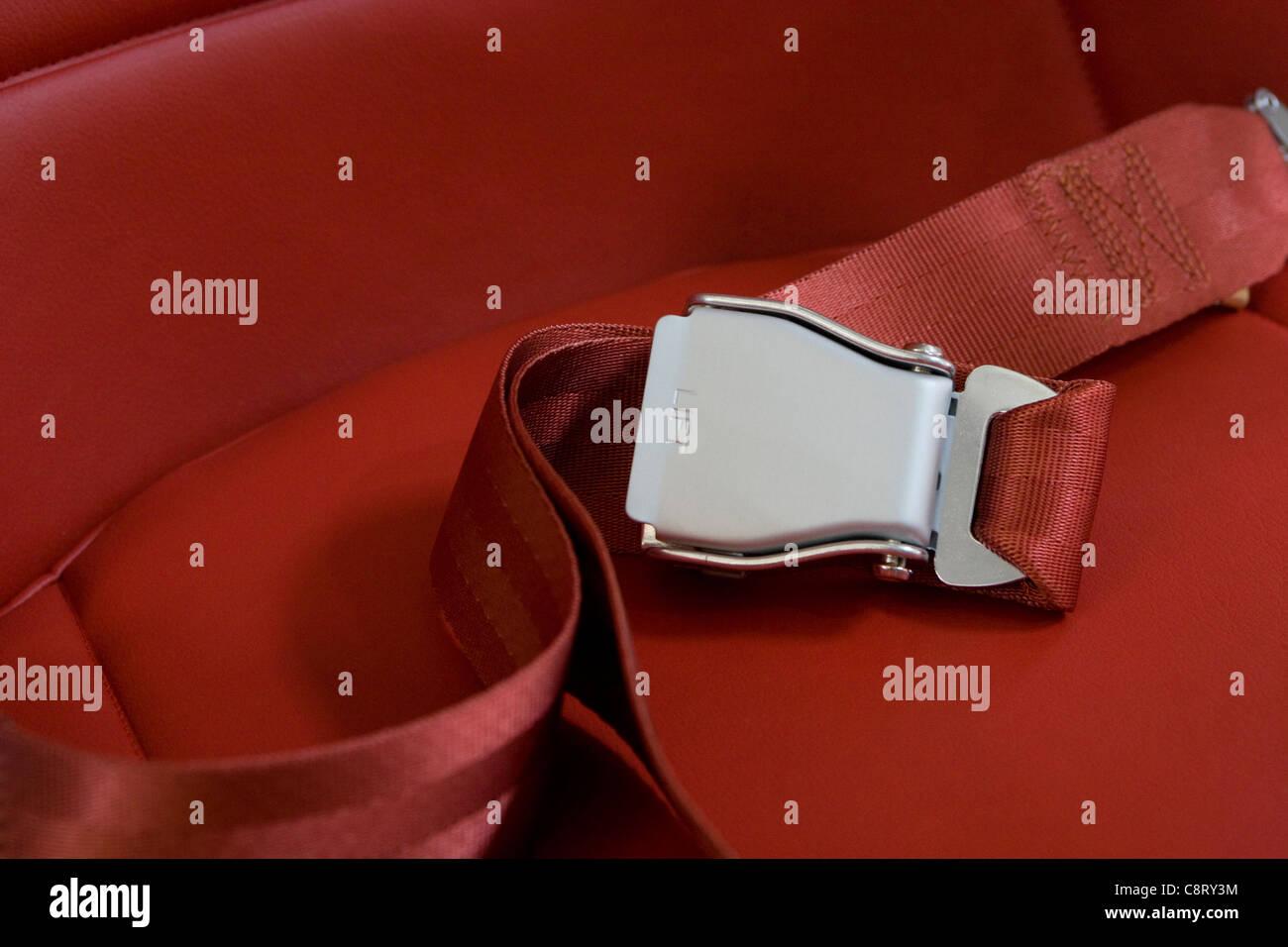 aircraft cabin seat belt - Stock Image