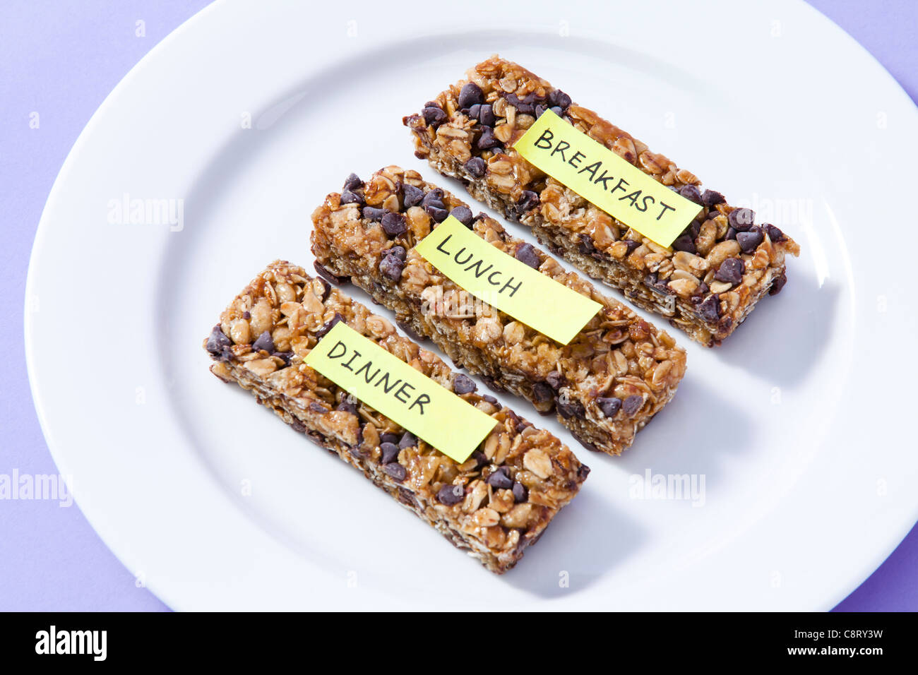 Close-up of health bars with label stuck on it - Stock Image