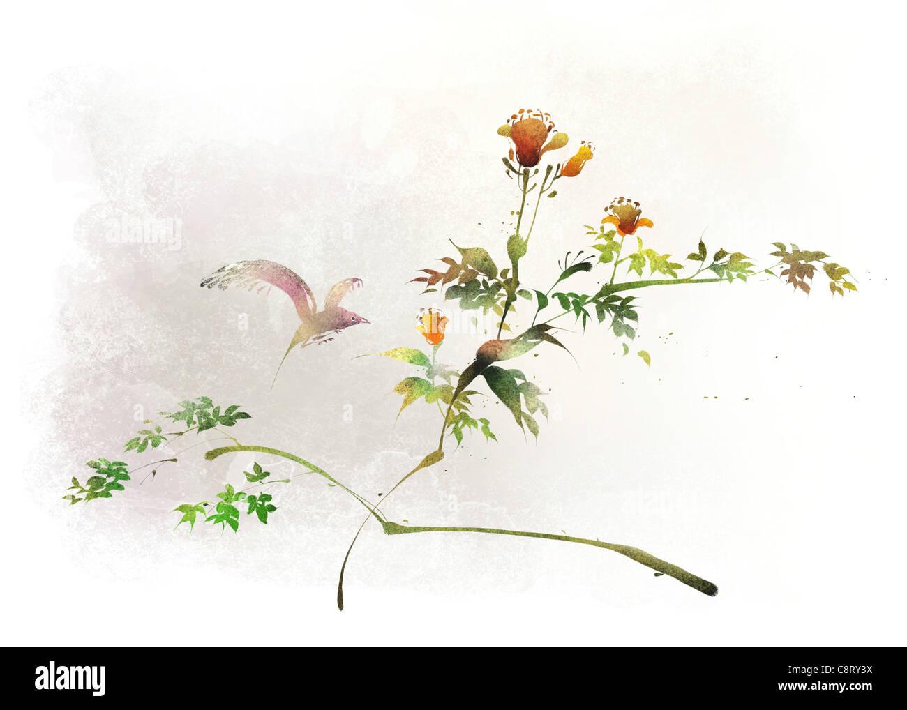 Bird On Flowering Tree - Stock Image