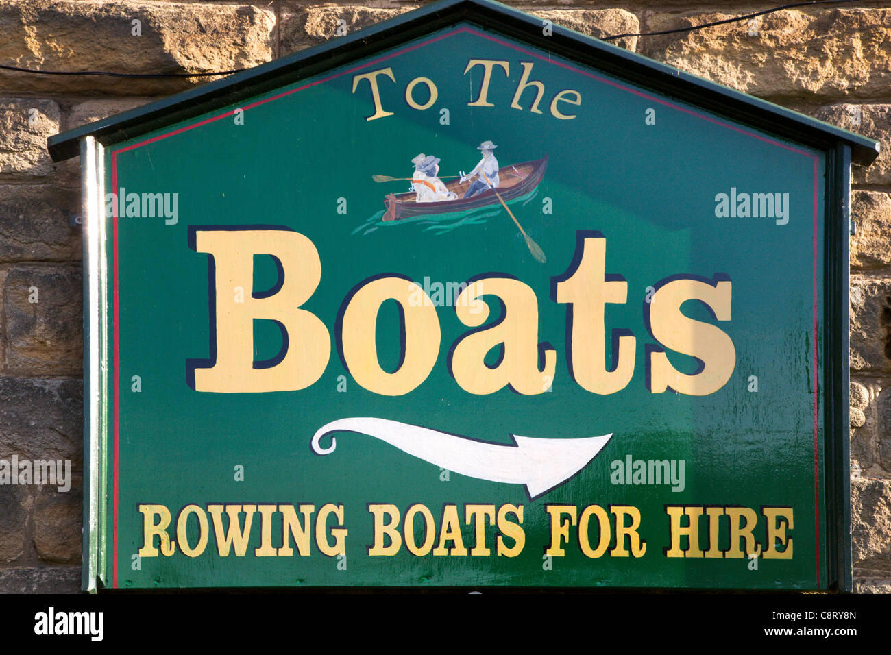 Rowing Boats For Hire Sign at Knaresborough North Yorkshire England - Stock Image