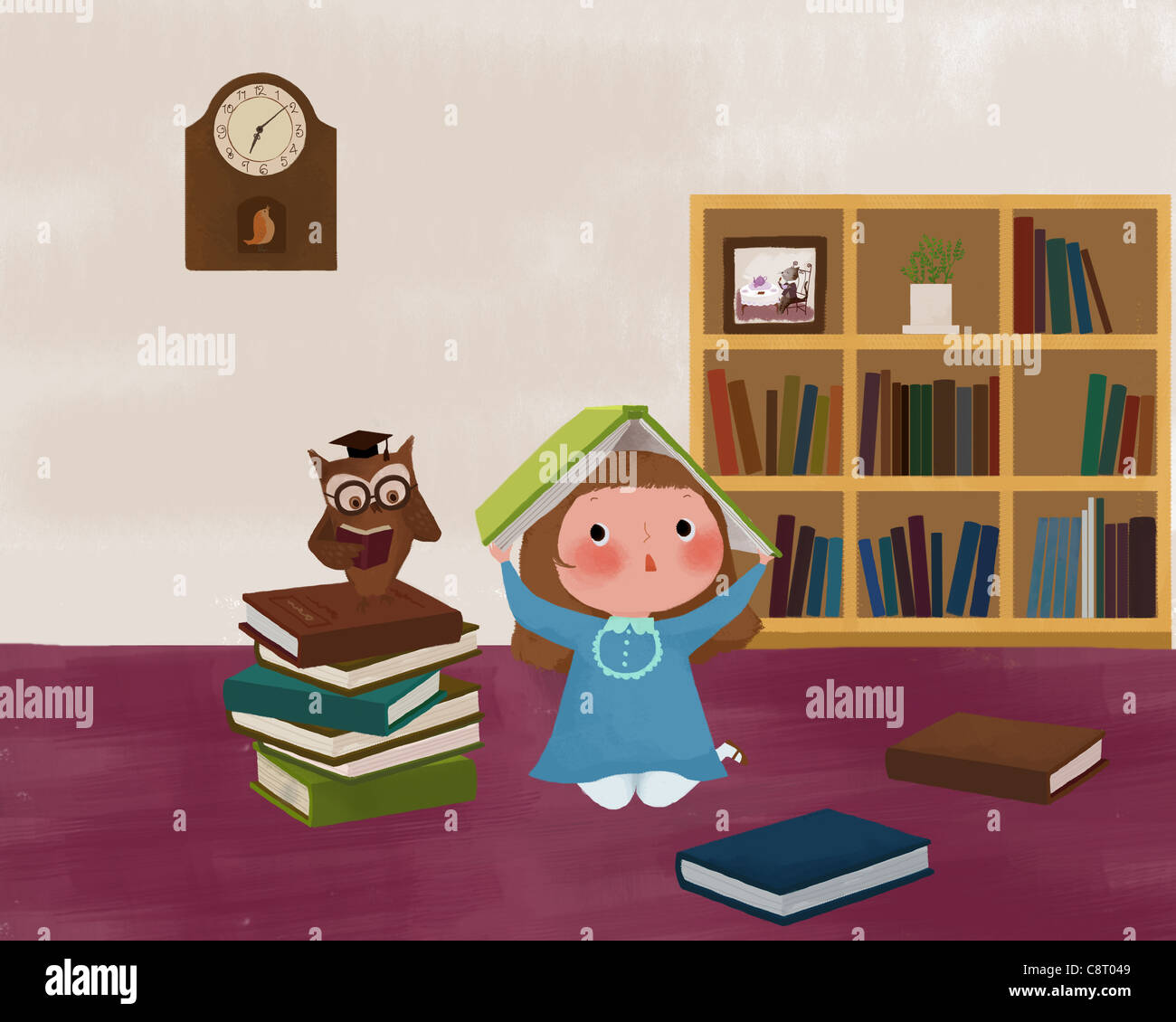 Girl Holding Book Over Head And Owl Sitting On Book - Stock Image