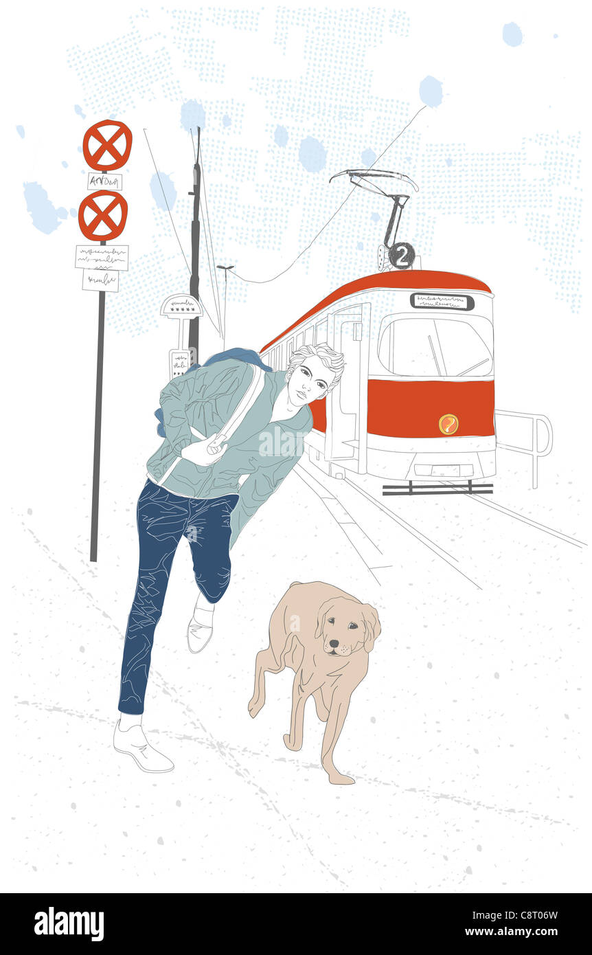 Illustration of man on platform with his pet - Stock Image