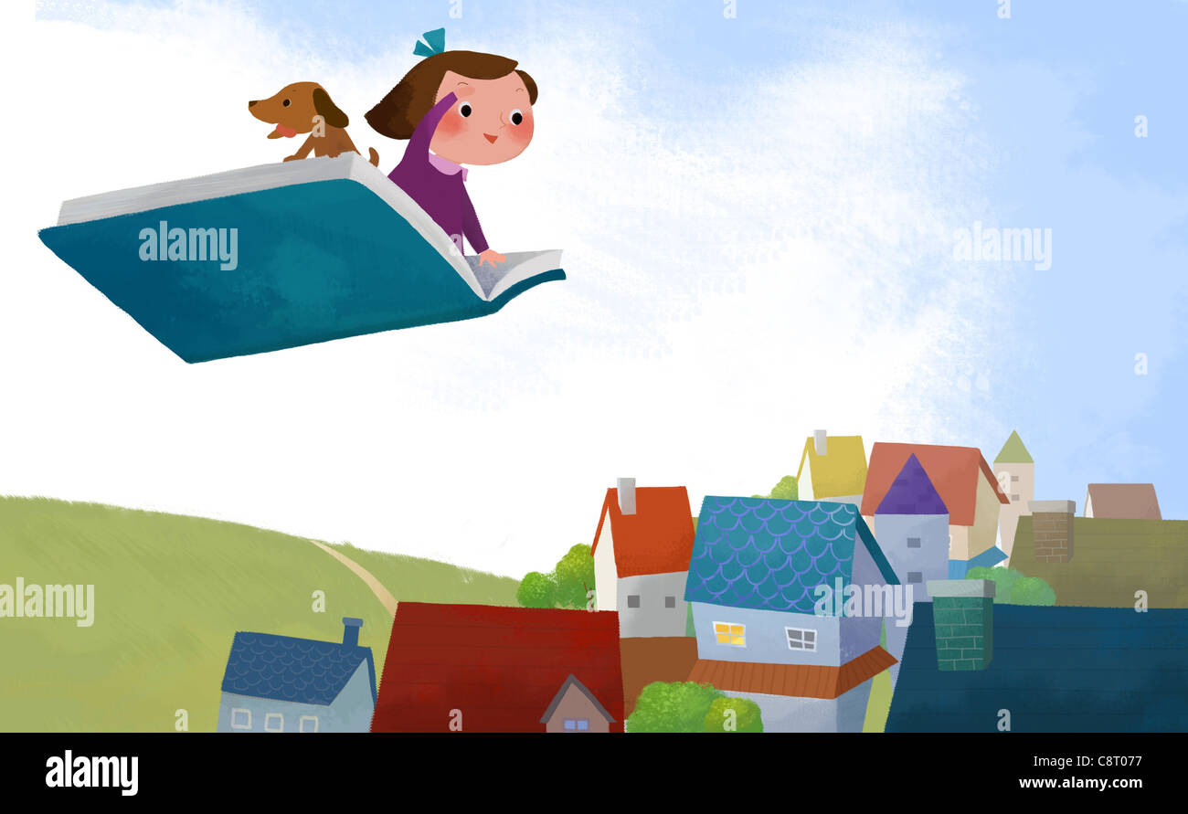 Girl And Dog Flying On Book Above Town - Stock Image