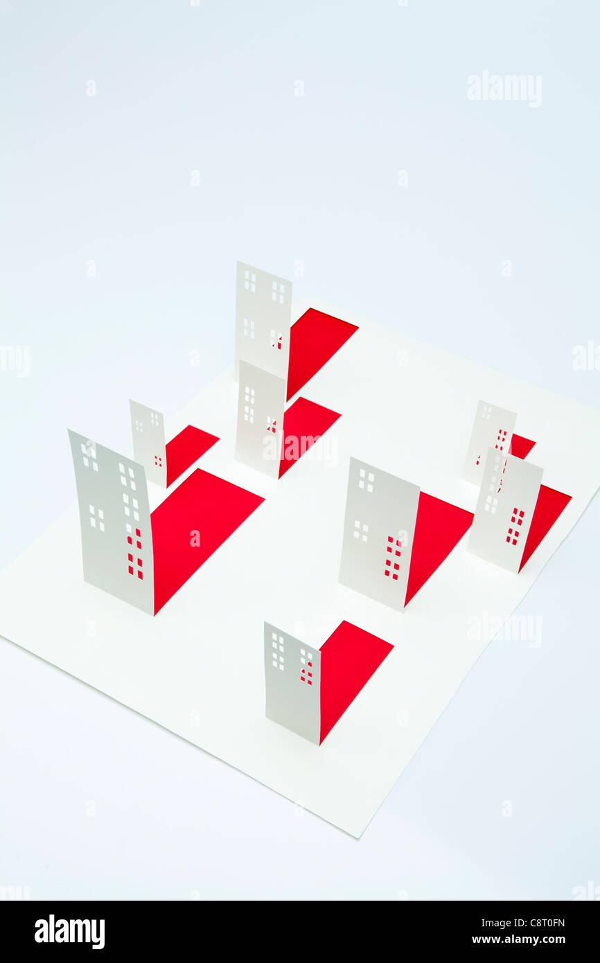 Model of buildings against white background - Stock Image