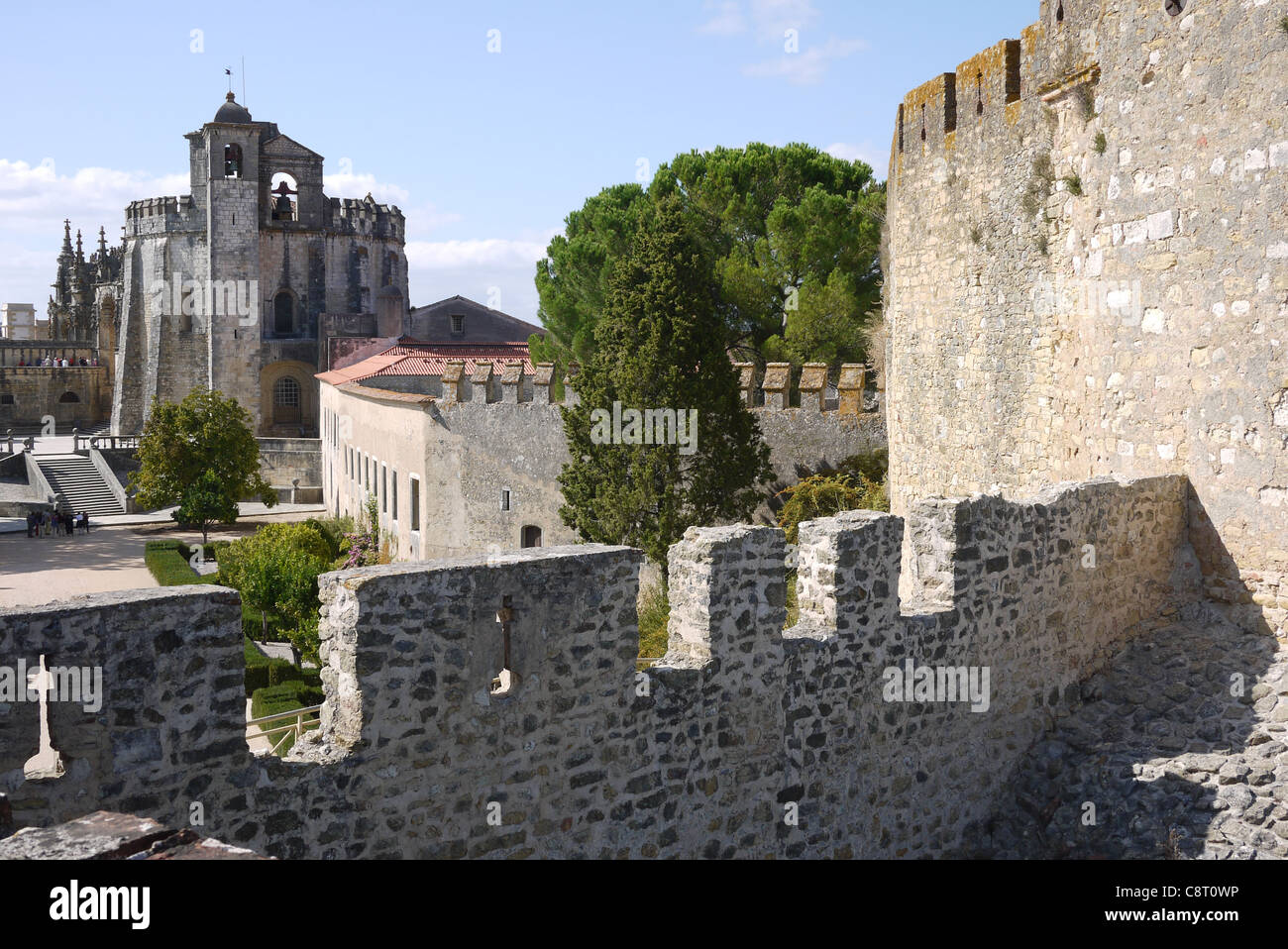 The round church of the Knights Templar at the Convento do Cristo,Tomar, Portugal, from the walls of the crusader - Stock Image
