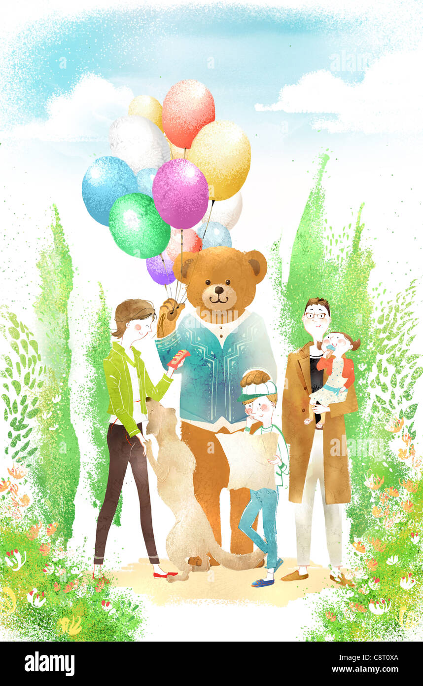 Mother Buying Balloons For Children Stock Photo