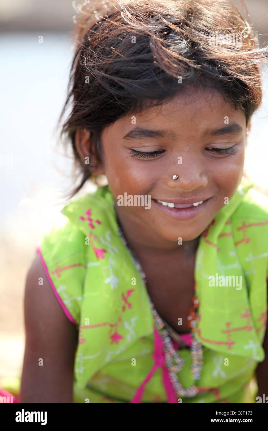Lower caste girl in Andhra Pradesh South India Stock Photo