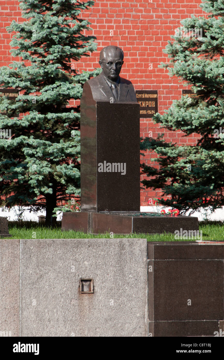 Grave of the former KGB director Yuri Andropov (1914-1984) at the Kremlin Wall Necropolis in Moscow, Russia - Stock Image