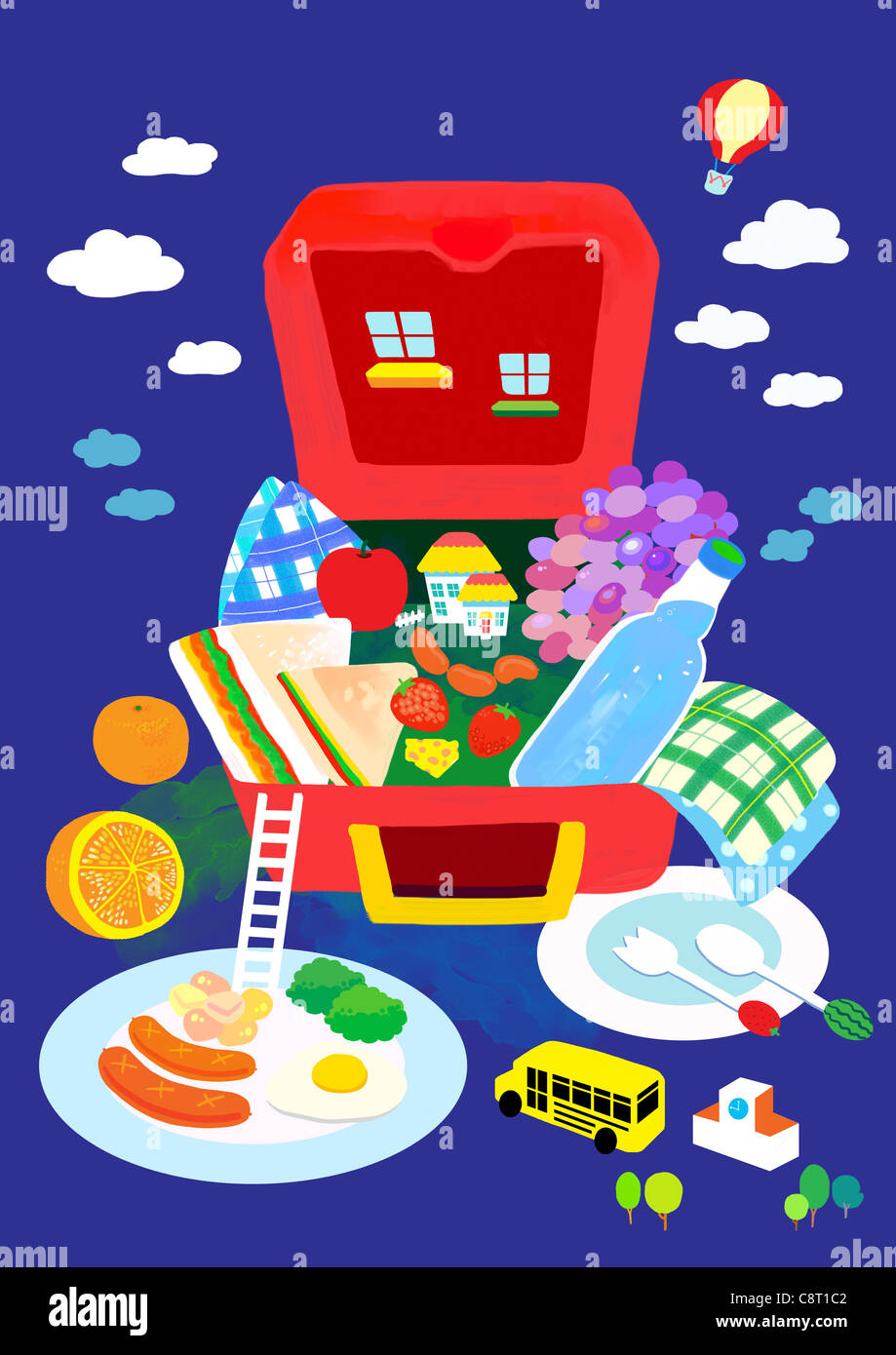 Opened Picnic Lunch Box - Stock Image