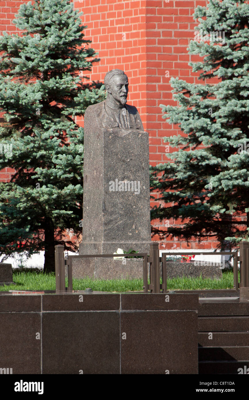 Grave of the communist revolutionary Felix Dzerzhinsky (1877-1926) at the Kremlin Wall Necropolis in Moscow, Russia - Stock Image
