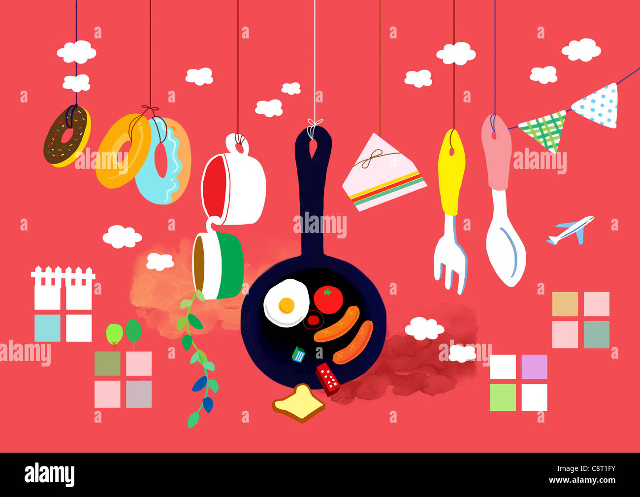 Kitchen Utensil Hanging With String On Red Background - Stock Image