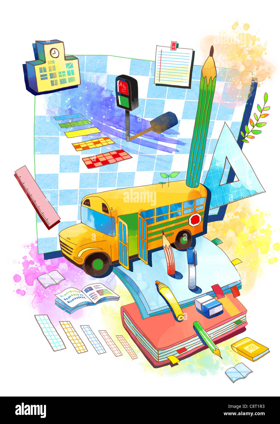 School Bus And Educational Supplement - Stock Image
