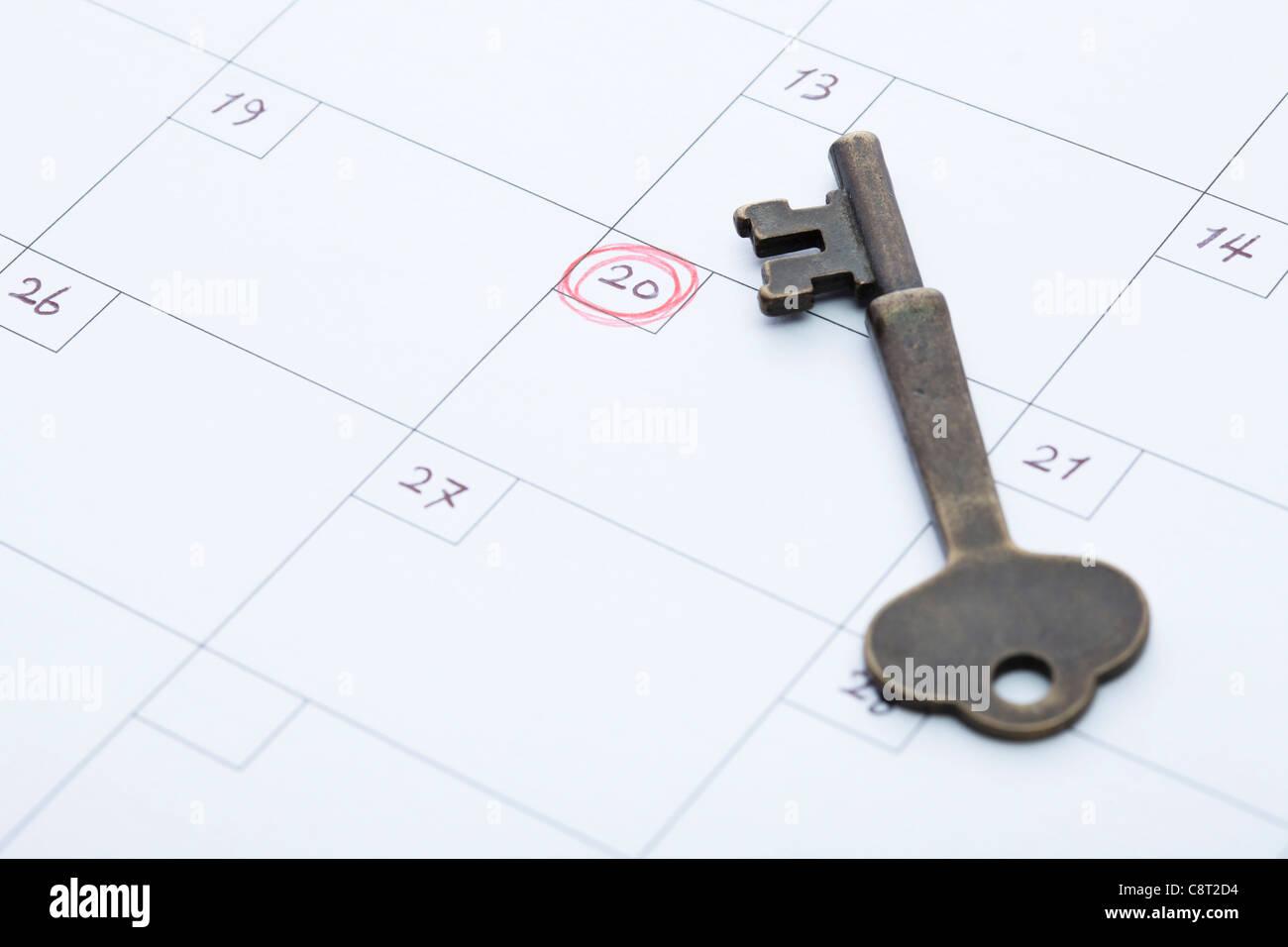 Close-up Of Calendar With Key - Stock Image