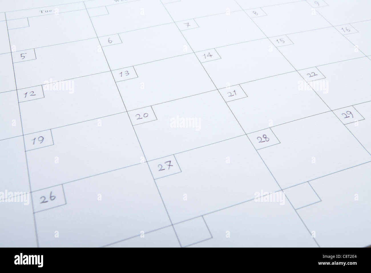 Close-up of a sheet of calendar - Stock Image