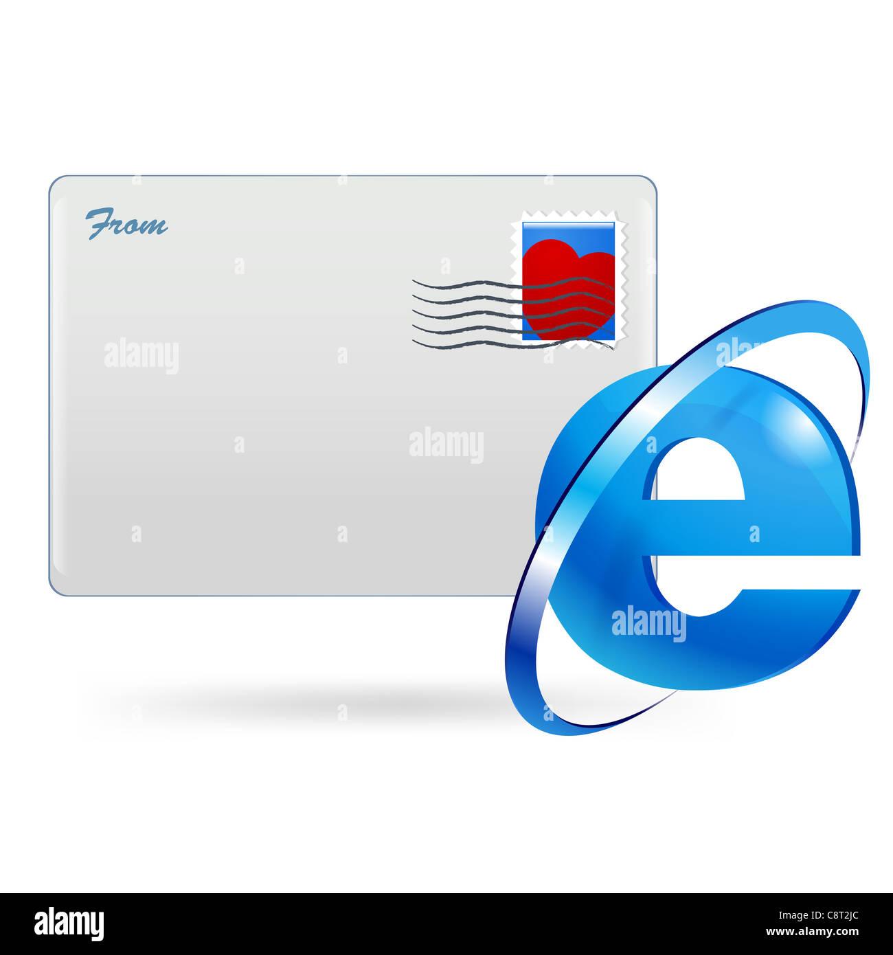Illustration Of Internet Explorer Symbol And Envelope Stock Photo