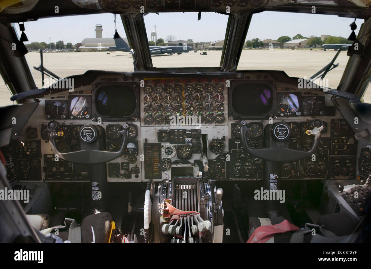 View of Barksdale Air Force Base, LA flightline from inside a B-52 Stratofortress on April 29. Stock Photo