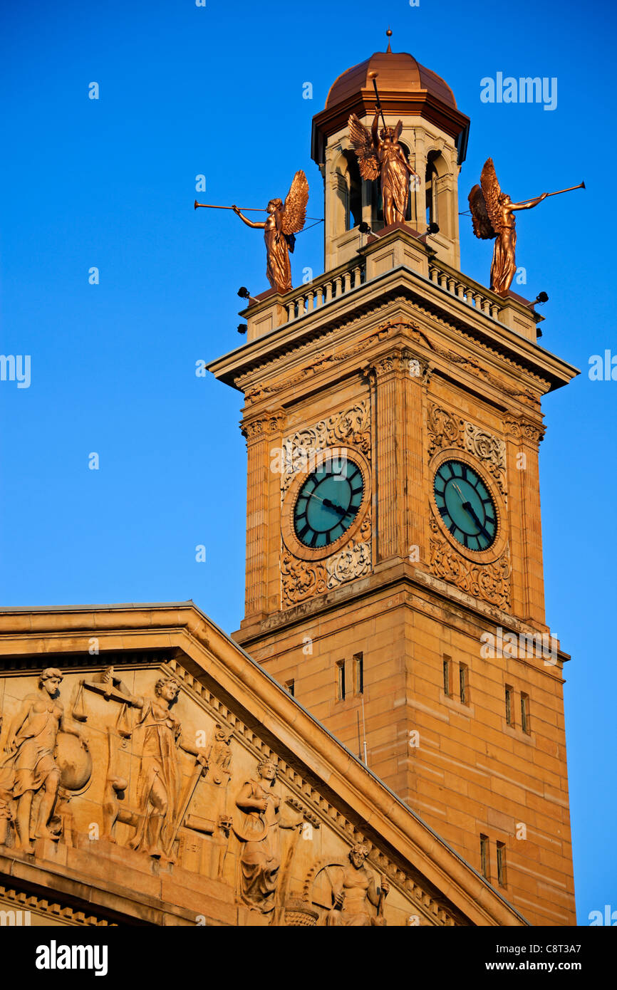 Clock Tower by Courthouse Building in Canton - Stock Image