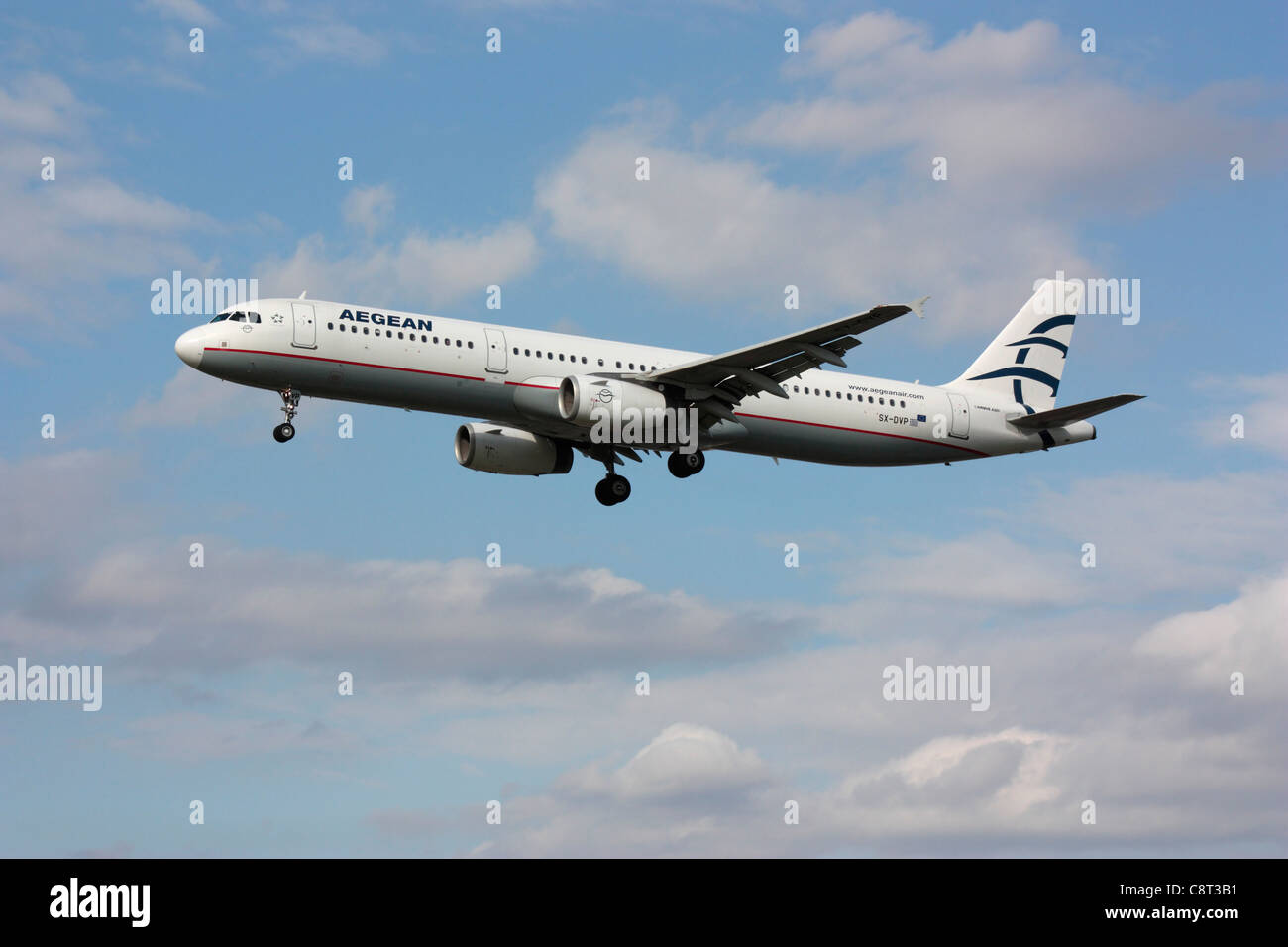 Aegean Airlines Airbus A321 passenger jet plane in flight shortly before arrival - Stock Image