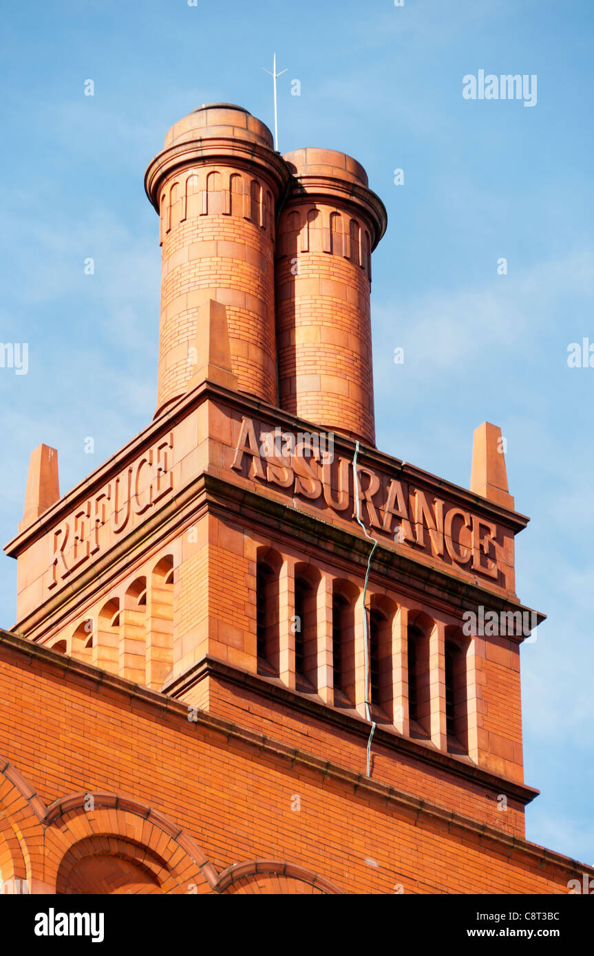 Chimneys on the Refuge Assurance building. Paul Waterhouse,1910-12. Oxford Road, Manchester, England, UK.  Now the - Stock Image