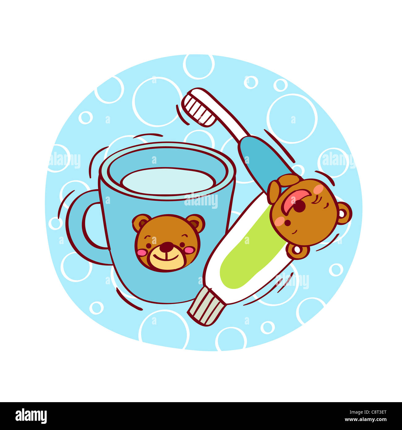 Illustration of toothbrush and toothpaste with water mug - Stock Image