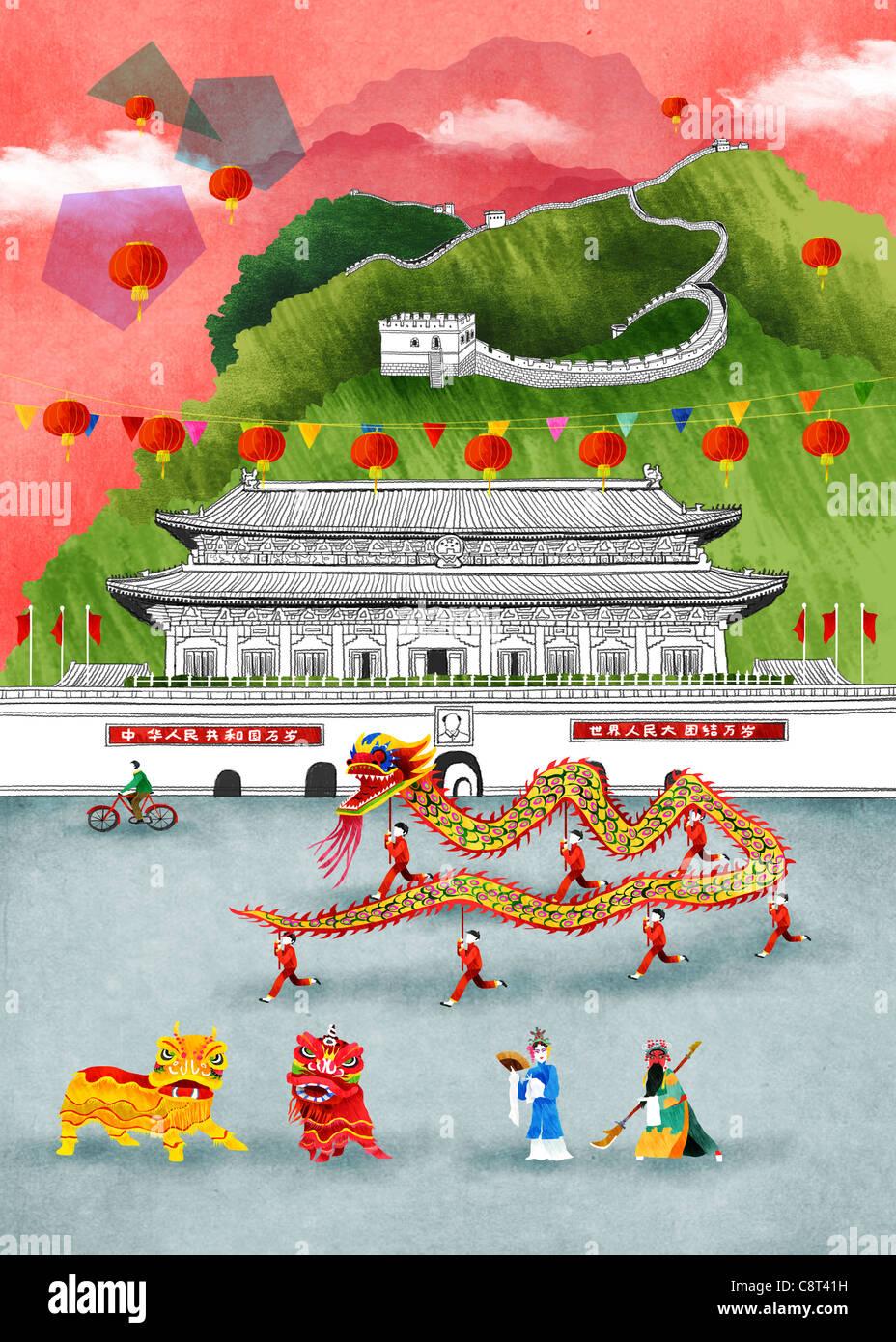 Chinese Dragons Celebration - Stock Image