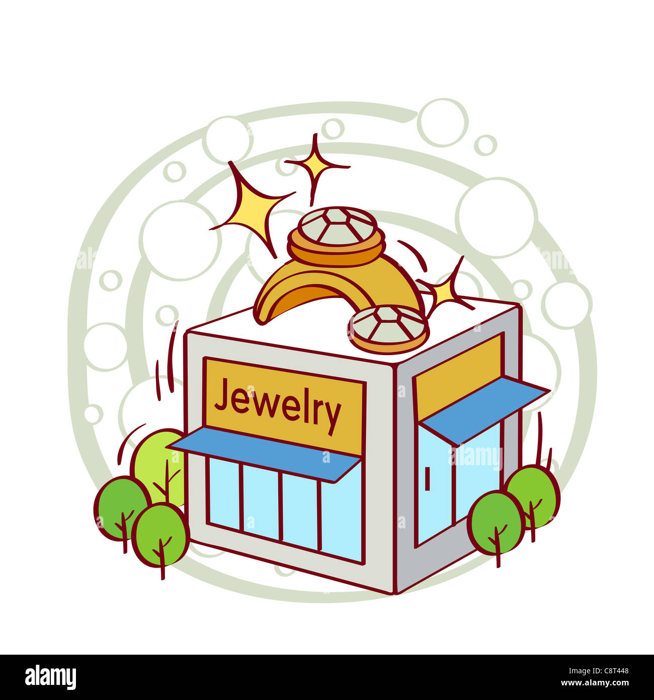 Illustration of gold ring on shop - Stock Image