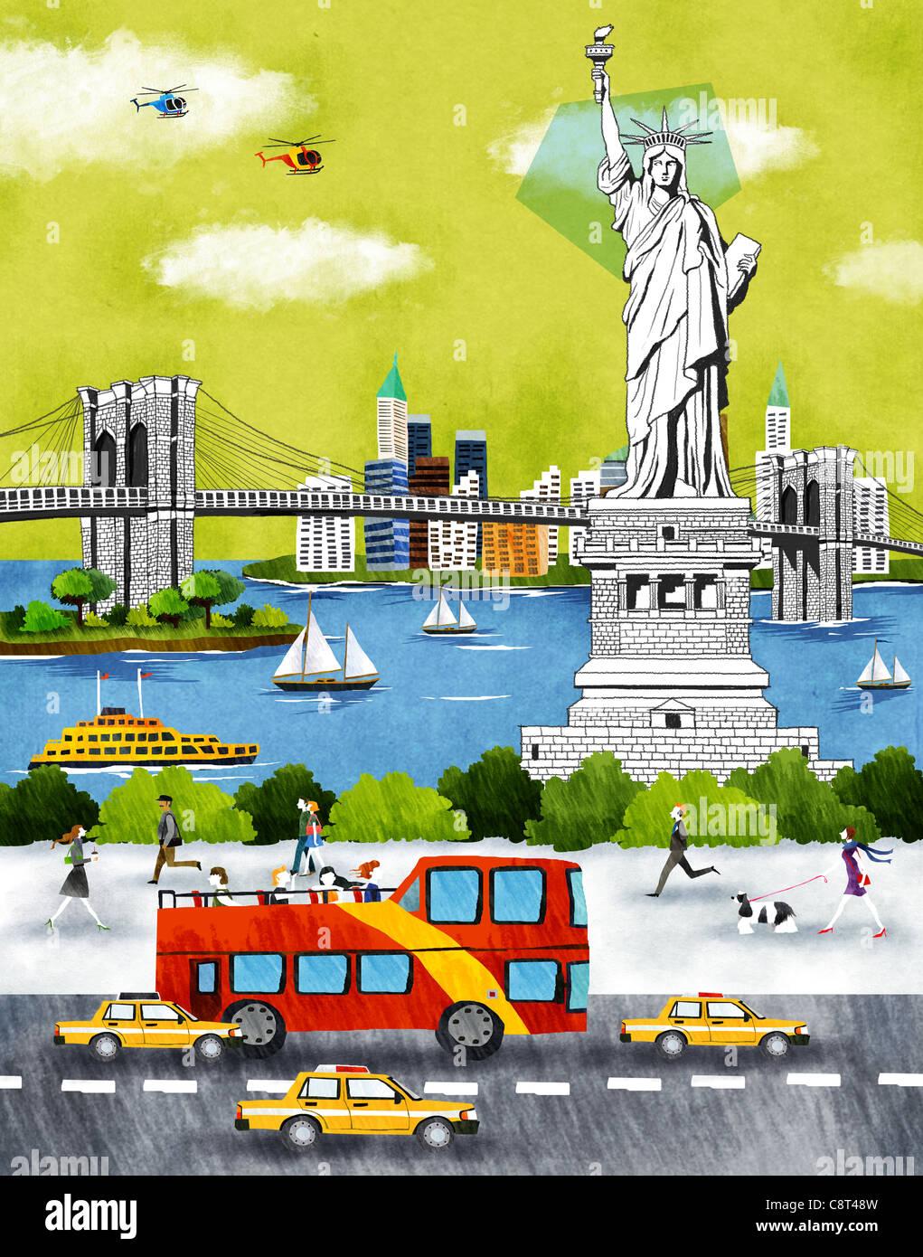 Usa, New York, New York City, Statue Of Liberty An Bridge Stock Photo