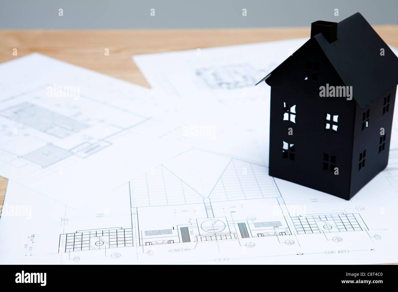 Model home diagram stock photos model home diagram stock images house model with house diagram paper stock image ccuart Gallery