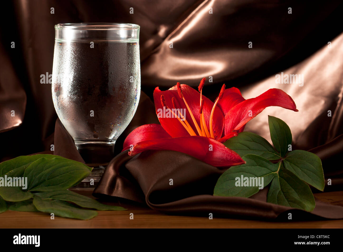 Water Glass with Red Lily Stock Photo