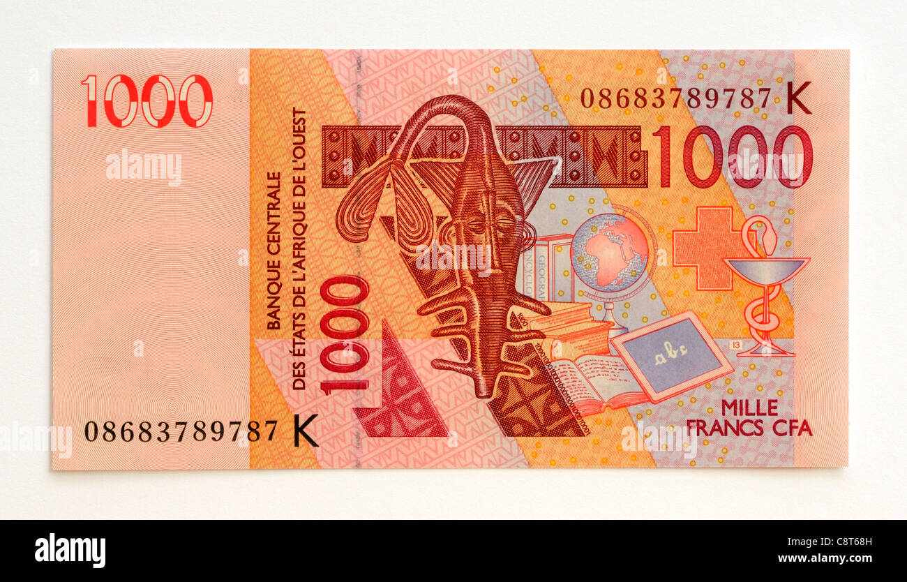 Senegal 1000 One Thousand Franc Bank Note. - Stock Image