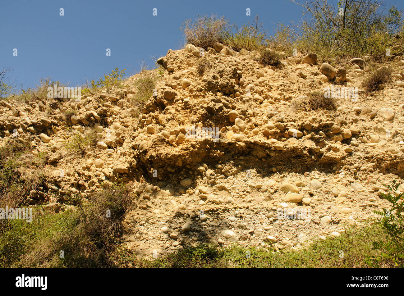 A layer of sedimentary deposit full of large stones - Stock Image