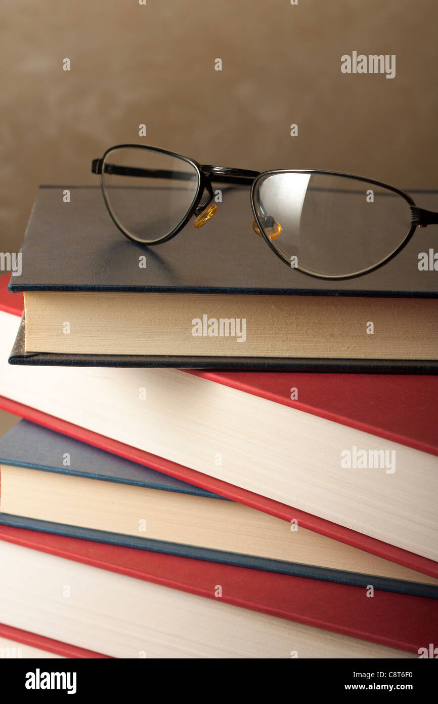 Glasses on Books - Stock Image